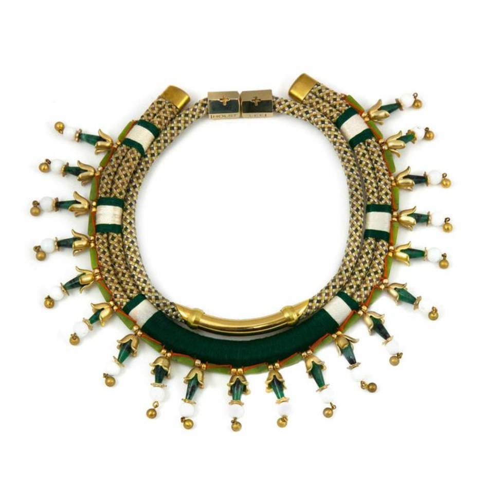 HOLST + LEE - Jade Lotus Flower Collar Necklaces