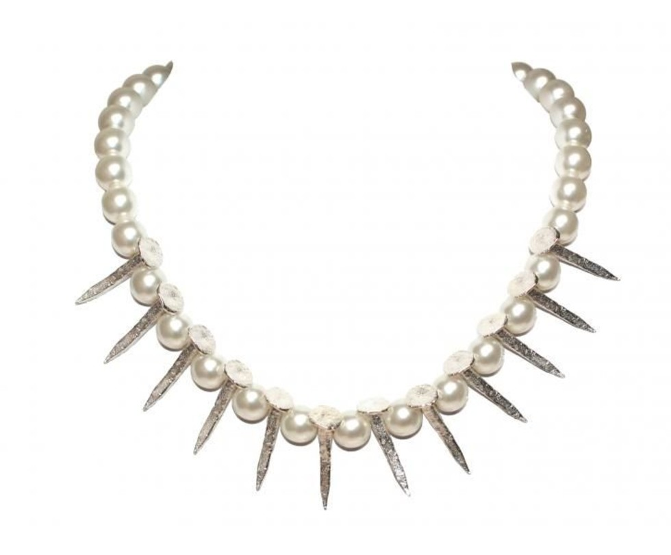 TOM BINNS - SILVER NAILS WITH PEARLS NECKLACE